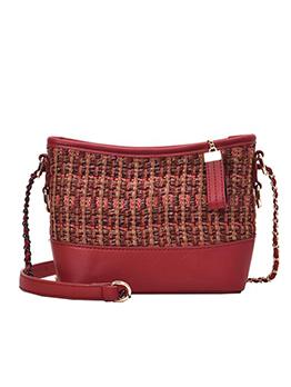 Large Size Linen Patchwork Pu Ladies Chain Shoulder Bag