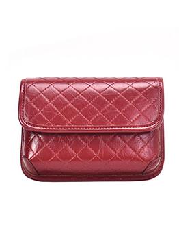 Solid Thread Rhombus Letter Wide Belt Shoulder Bag