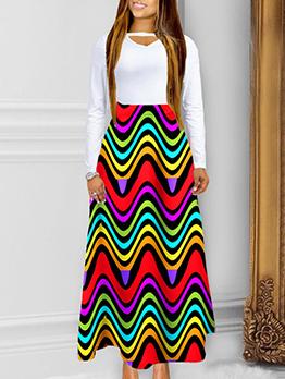 Hot Sale Printed High Waist Maxi Skirt