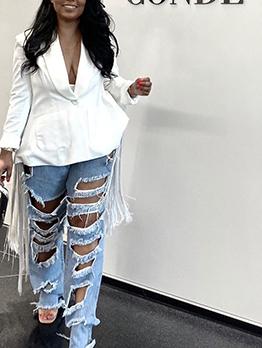 Chic Tassel Decor White Blazer