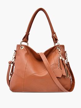 Solid Color Tassel Pendant Crossbody Handbags With Belt