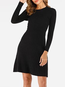 Stylish Slim Fit Knit Black Long Sleeve Dress