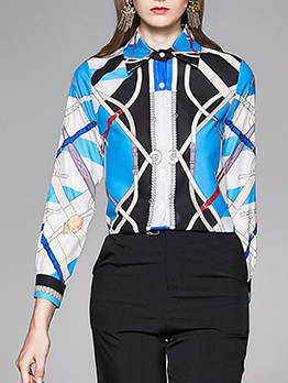 Ol Style Color Block Printed Ladies Long Sleeve Blouse