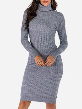 Solid High Collar Women Sweater Dress