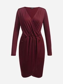 Chic Ladies Long Sleeve v Neck Dress