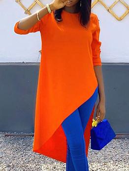 Asymmetrical Hem Pure Color Crew Neck Long T Shirt