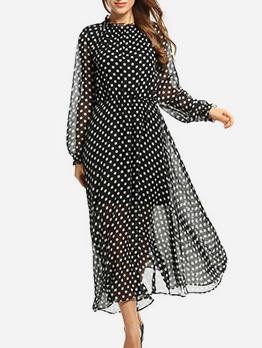 Polka Dots Chiffon Long Sleeve Midi Dress