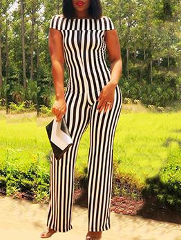 Fashion Off Shoulder Striped Jumpsuit