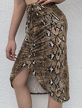Snake Printed Drawstring Midi Skirt