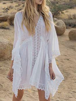 Solid Elastic Waist Lacework Beach White Dress