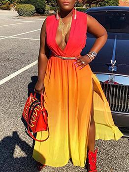 Bohemian Contrast Color Beach Maxi Dress