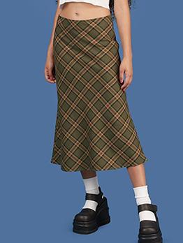 Classic Plaid Pattern Mid Waist Women Midi Skirt