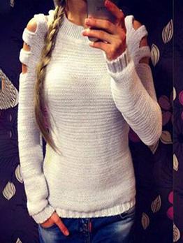 Pure Color Hollow Out Shoulder Cotton Women Sweater