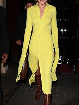 Fashion Single-Breasted Yellow Long Sleeve Dress