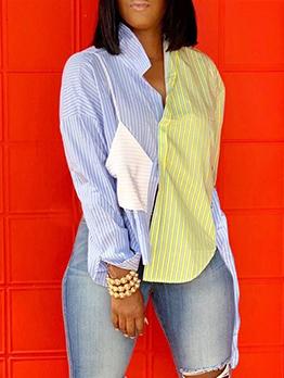 Irregular Hem Stitching Color Stripes Long Sleeve Shirts