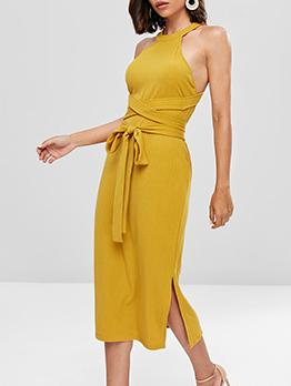 Back Cut Out Solid Knit Midi Dress