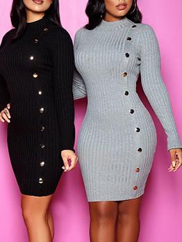 Mock Neck Solid Long Sleeve Bodycon Dress