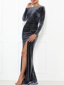 Backless Split Hem Velvet Long Sleeve Evening Dress