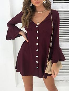 V Neck Solid Flare Sleeve Long Sleeve Short Dress