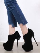 V Cut Back Bow Platform Boots