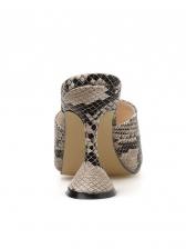 Solid Snake Printed Slip On Wine Heel Sandal