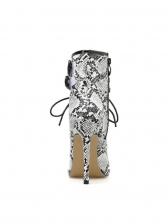 Three Straps Bandage Peep Toe Snakeskin Boots