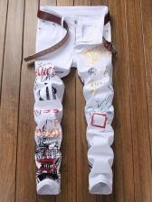 Slim Letter Print Skinny Boyfriend Jeans