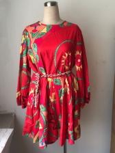 Figure Abstract Printed Long Sleeve Short Dress