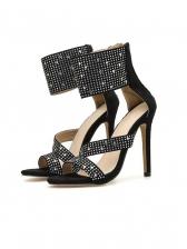 Rhinestone Peep Toe Heel Sandals