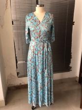 Tie Wrap V Neck Print Maxi Dress