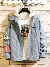 Light Blue Printed Men Denim Jacket