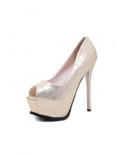 Slip On Solid Peep Toe Platform Heels