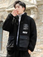 Pockets Print Lambswool Loose Winter Coats