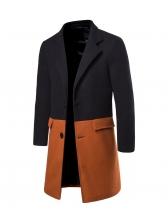 Fashion Contrast Color Woolen Mens Winter Coats