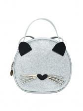 Glitter Cat Shape Animal Print Round Crossbody Shoulder Bag