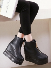 Front Zipper Solid Wedge Ankle Boots