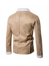 Suede Contrast Color Lapel Men Outerwear
