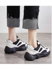 Tie Up Patchwork Breathable Sneakers For Women