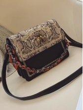 Letter Embroidery Snake Print Silk Scarf Vintage Chain Bags