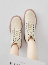 Patchwork Lace Up Thicken Sole Canvas Boots
