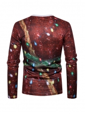 Christmas Print Crew Neck Tee Shirt