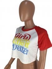 Contrast Color Letter Short Sleeve Cropped T Shirt