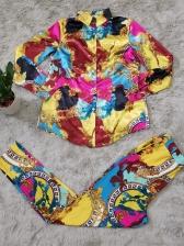 Vintage Style Multicolored Printed Ladies 2 Piece Pants Set