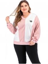 Casual Color Patchwork Plus Size V Neck Sweatshirt