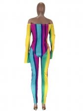 Color Block Skinny Off The Shoulder Jumpsuit