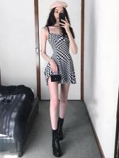 Black And White Plaid Sleeveless A-Line Mini Dress