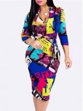 Contrast Color Print Long Sleeve Ladies Dress