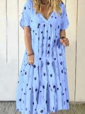 V Neck Floral Loose Short Sleeve Maxi Dress