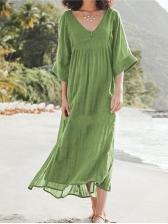 Autumn 2019 Solid V Neck Long Sleeve Maxi Dress