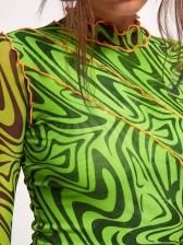 Mock Neck Print Green Long Sleeve Bodycon Dress